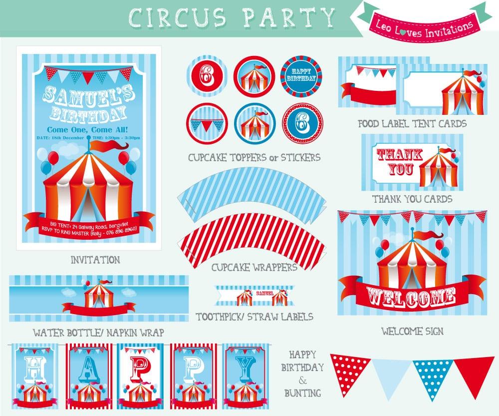 Circus Themed Birthday Party Invitations