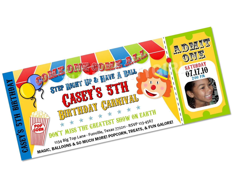 clown invitations clown ticket personalized children s birthday