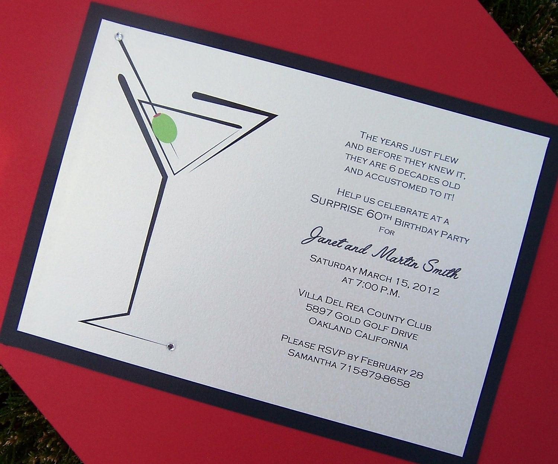 Cocktail Birthday Party Invitations Martini Invitation