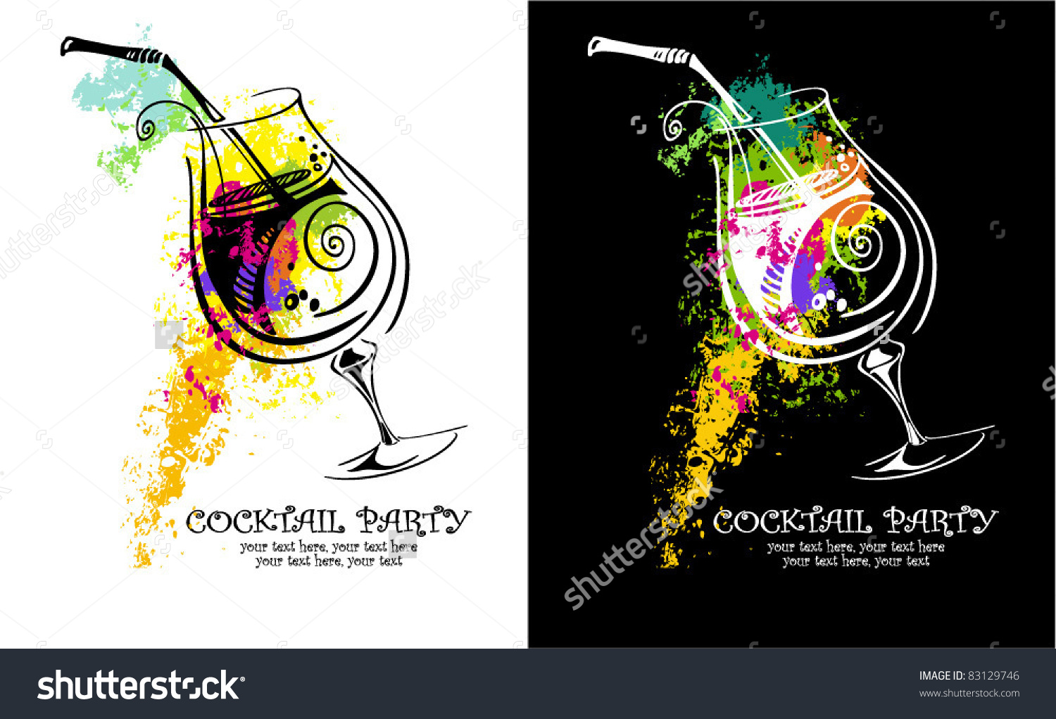 Cocktail Party Invitation Stock Vector 83129746