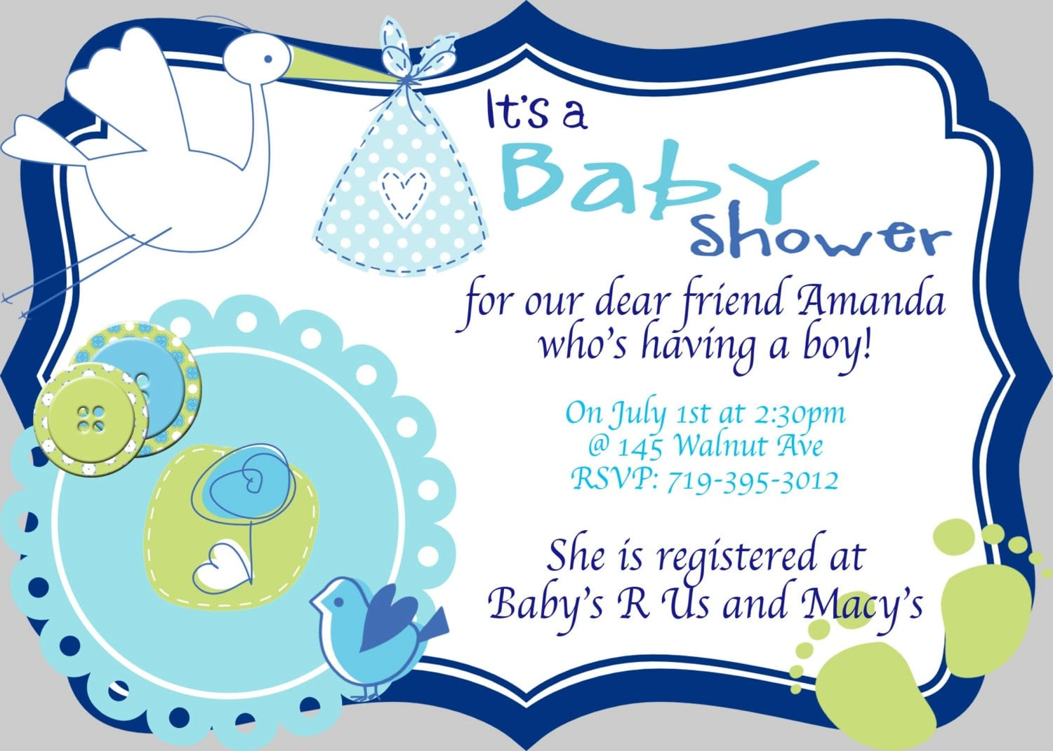 Color   Baby Shower Invitations For Boy