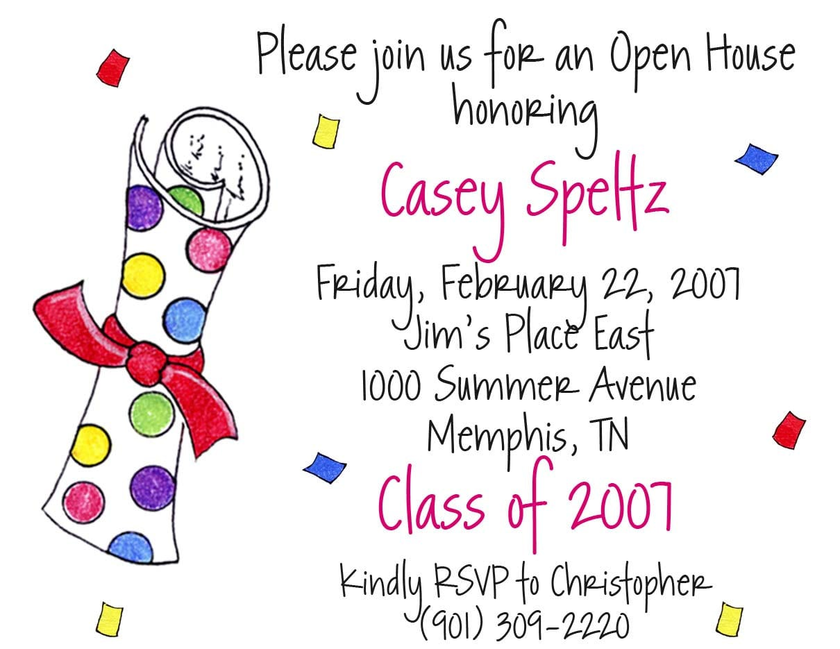 Colors Sample Wording For High School Graduation Party Invitations