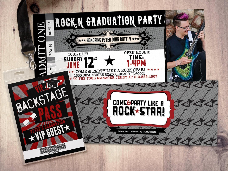 Concert Ticket, Graduation Party Invitation, Rockstar Birthday