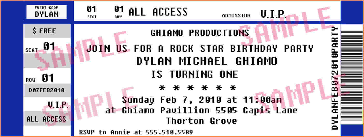 Concert Ticket Invitations Template