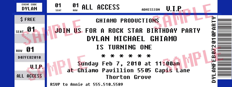 Concert Ticket Party Invitation  Rockstar Birthday By Midwestprep