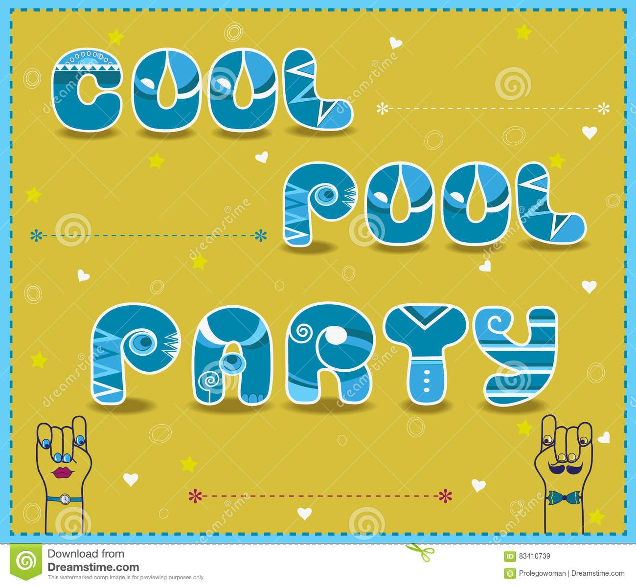 Cool Pool Party  Funny Invitation Stock Illustration