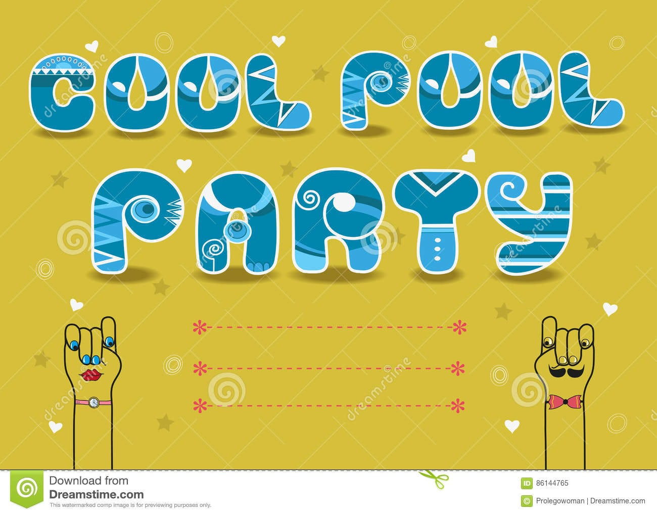 Cool Pool Party, Invitation Card Stock Illustration