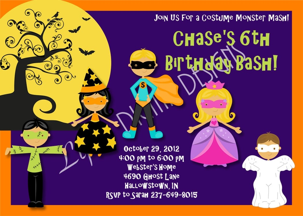 Unique Costume Birthday Party Invitation Wording Pictures ...
