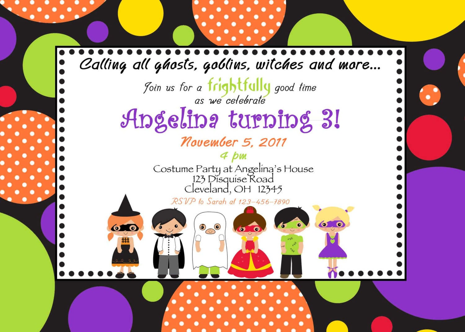 Costume Party Birthday Invitations
