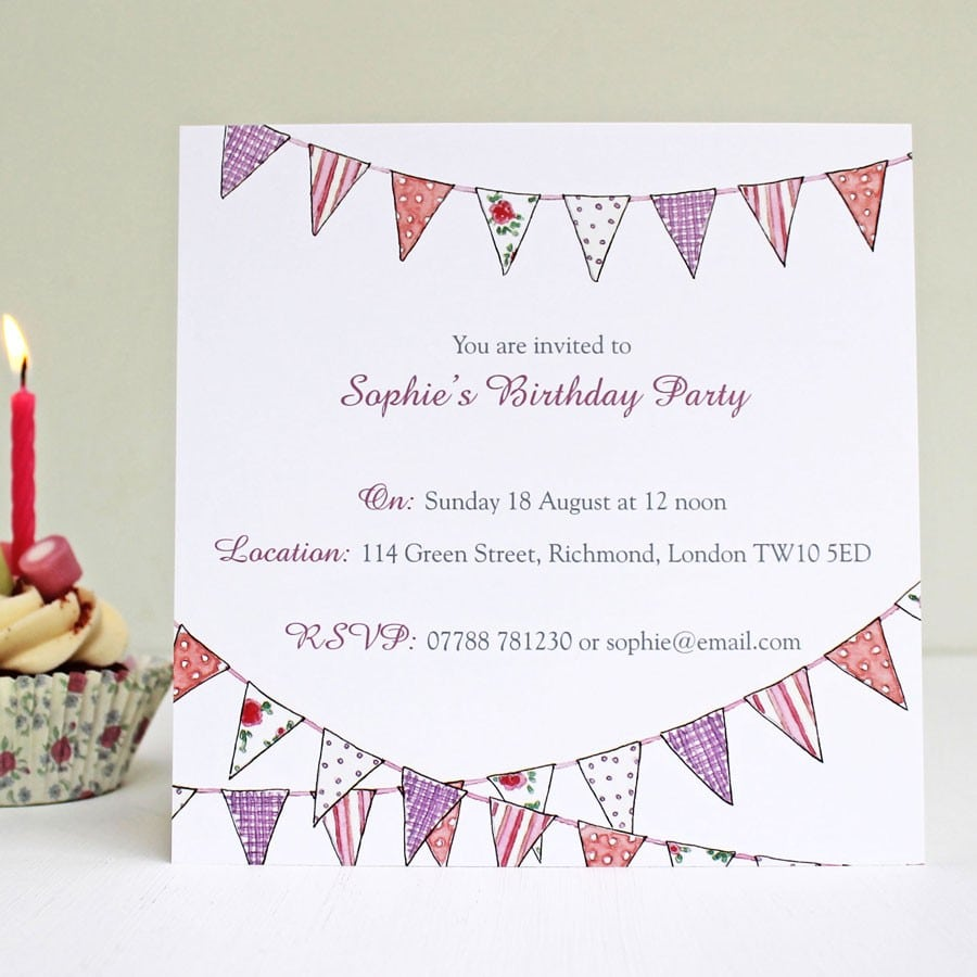 Country Bunting Party Invitations