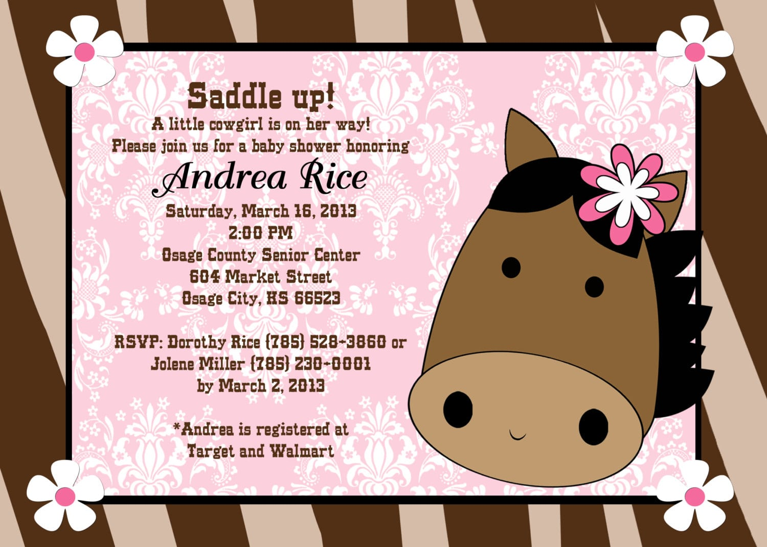 Free printable cowgirl baby shower invitations – Cowboy Party Invitation Wording