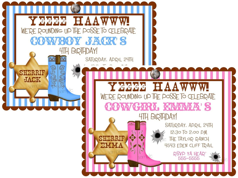 Cowboy Themed Birthday Invitation Wording