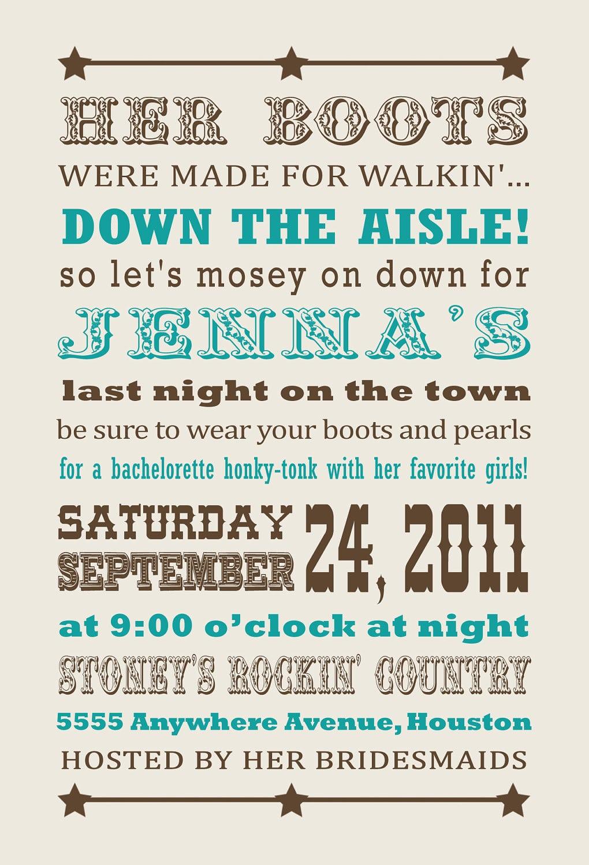 Cowgirl Western Bachelorette Party Invitation  $15 00, Via Etsy