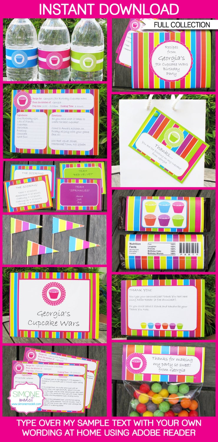 Cupcake Party Invitations & Decorations Full By Simonemadeit