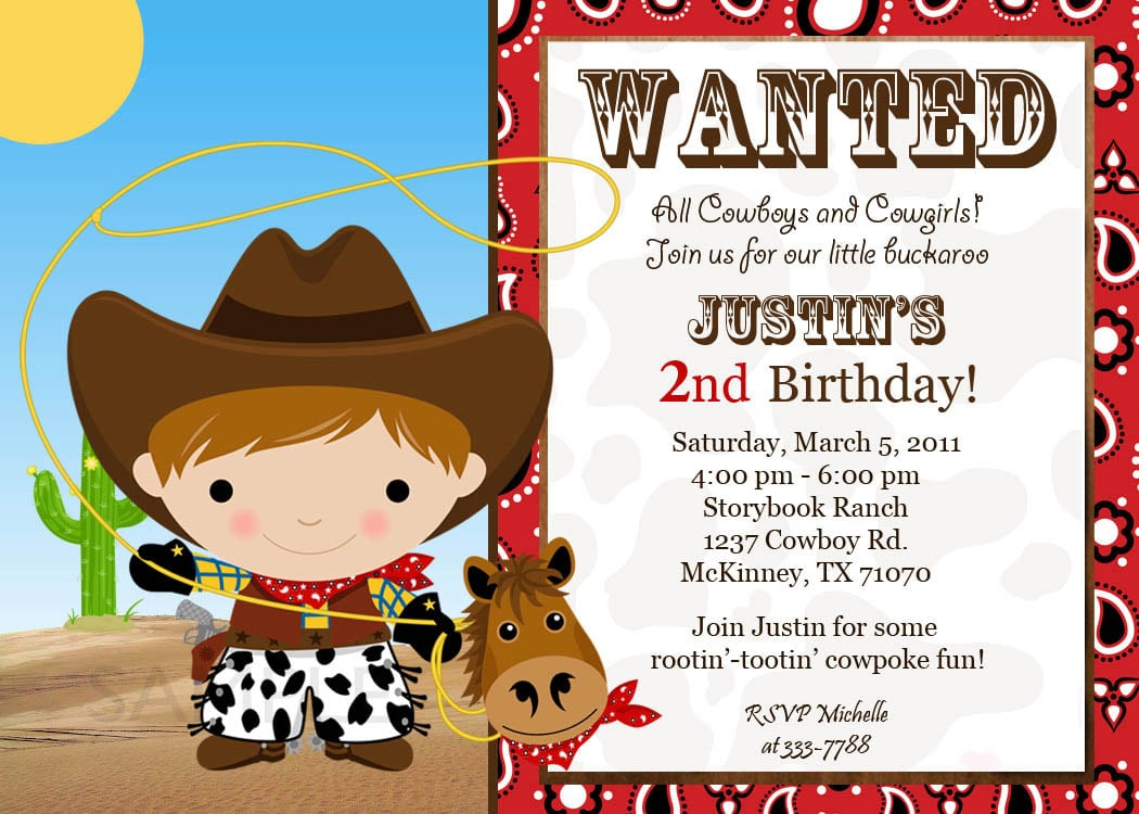 Custom Cowgirl Birthday Invitations Free