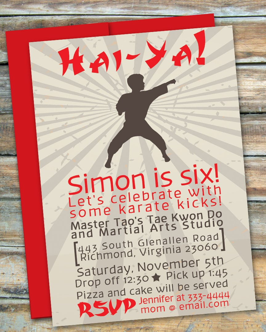 Custom Martial Arts Karate Ticket Birthday Party Invitation