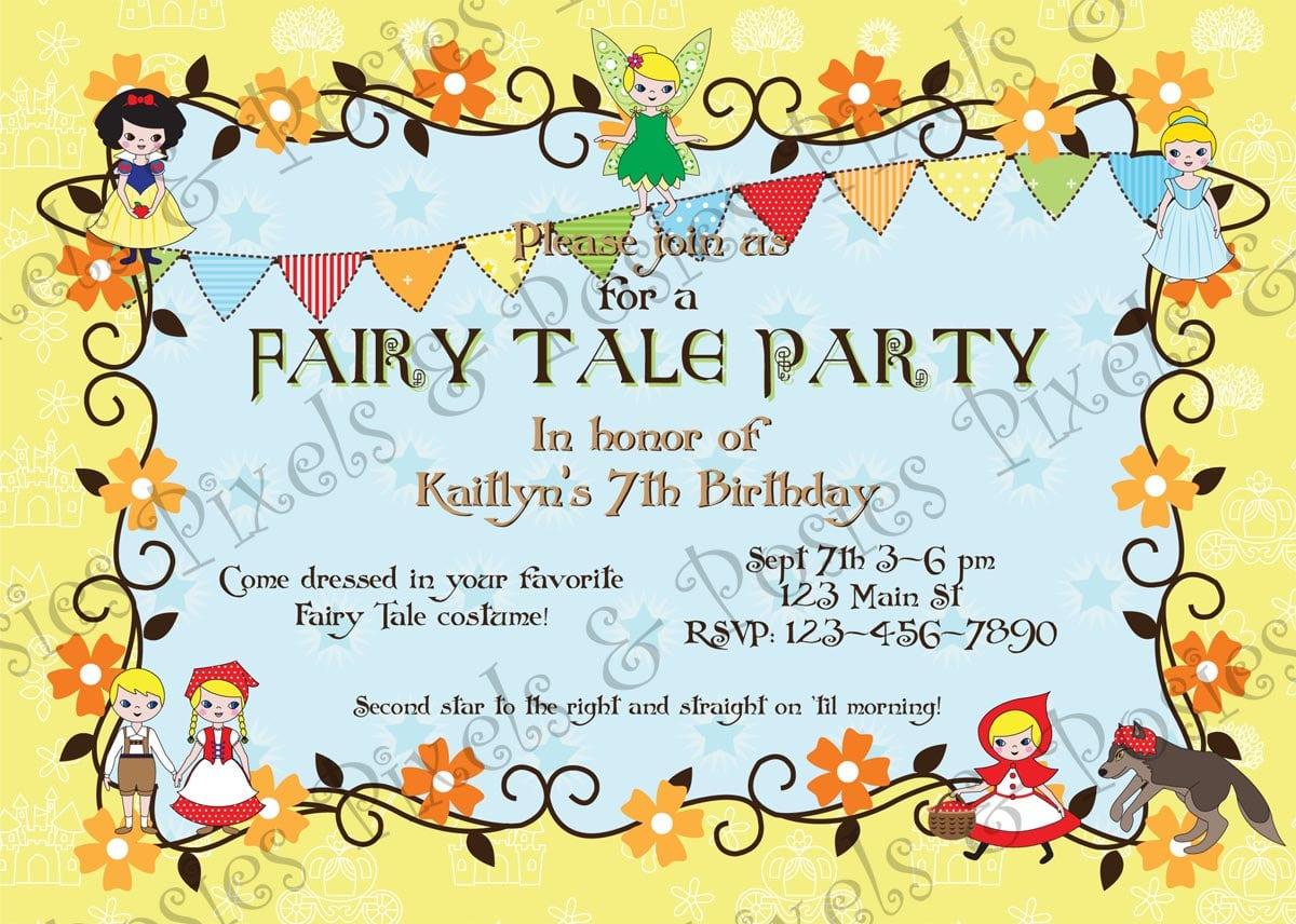 Custom Printable Party Invitation Print Your Own Fairy Tale