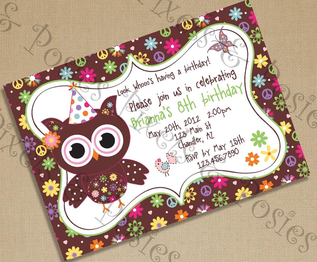Custom Printable Party Invitation Print Your Own Owl Birds