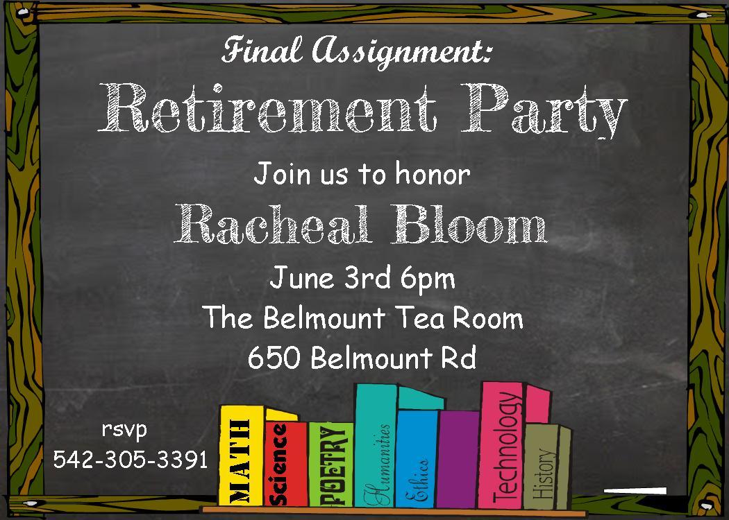 Customized Teacher Retirement Party Invitations
