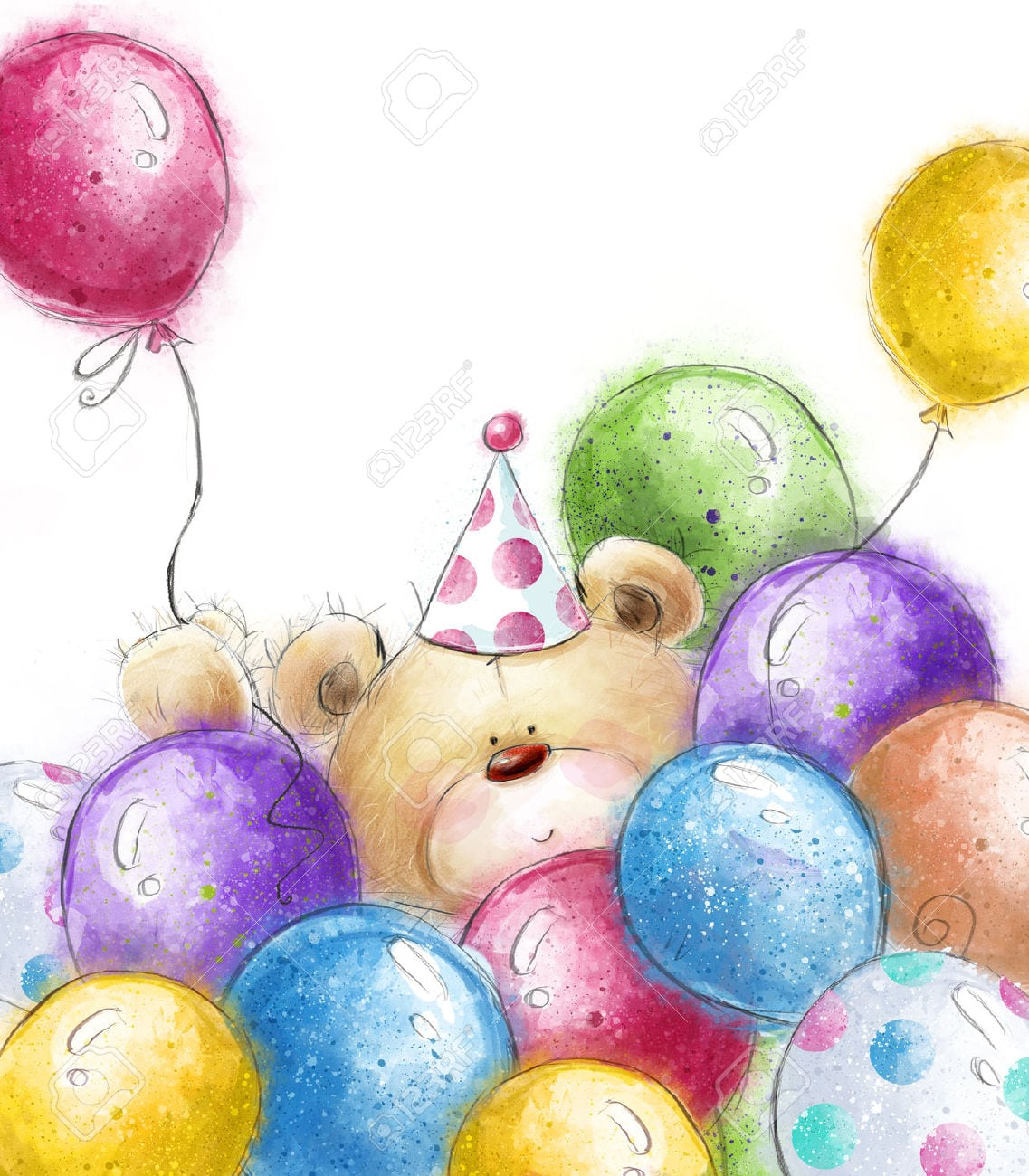 Cute Teddy Bear With The Colorful Balloons Background With Bear