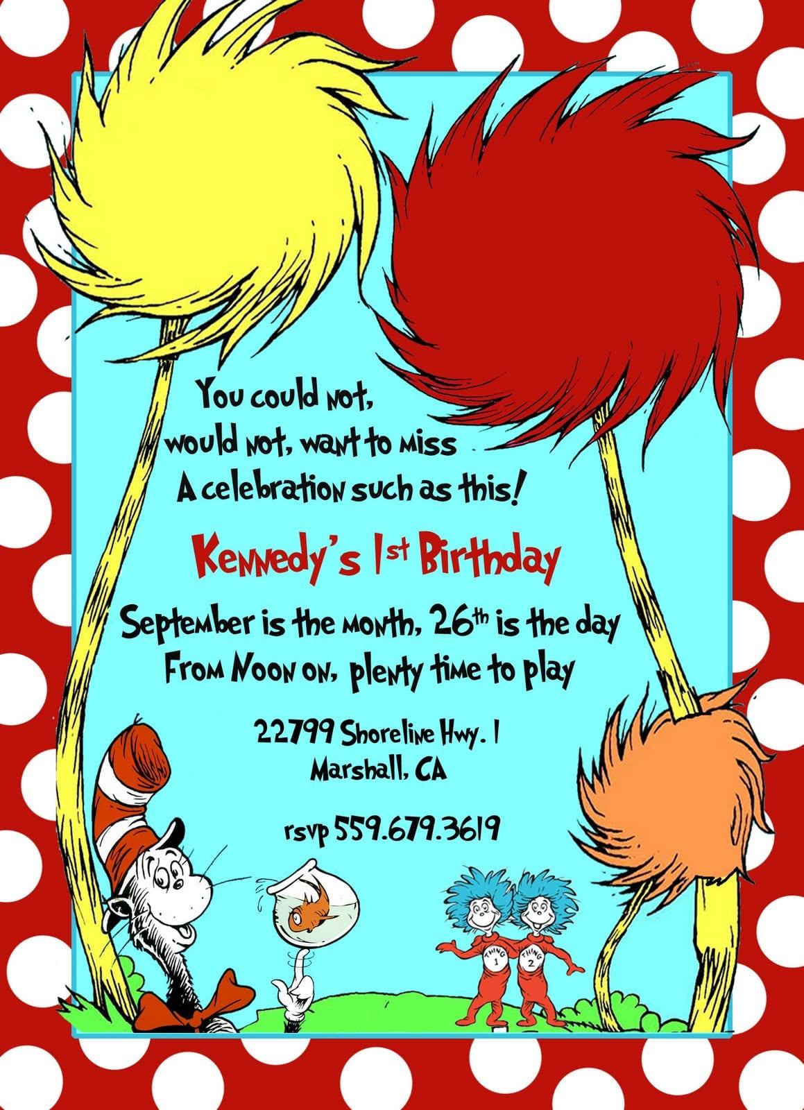 Design Dr Seuss Birthday Invitations