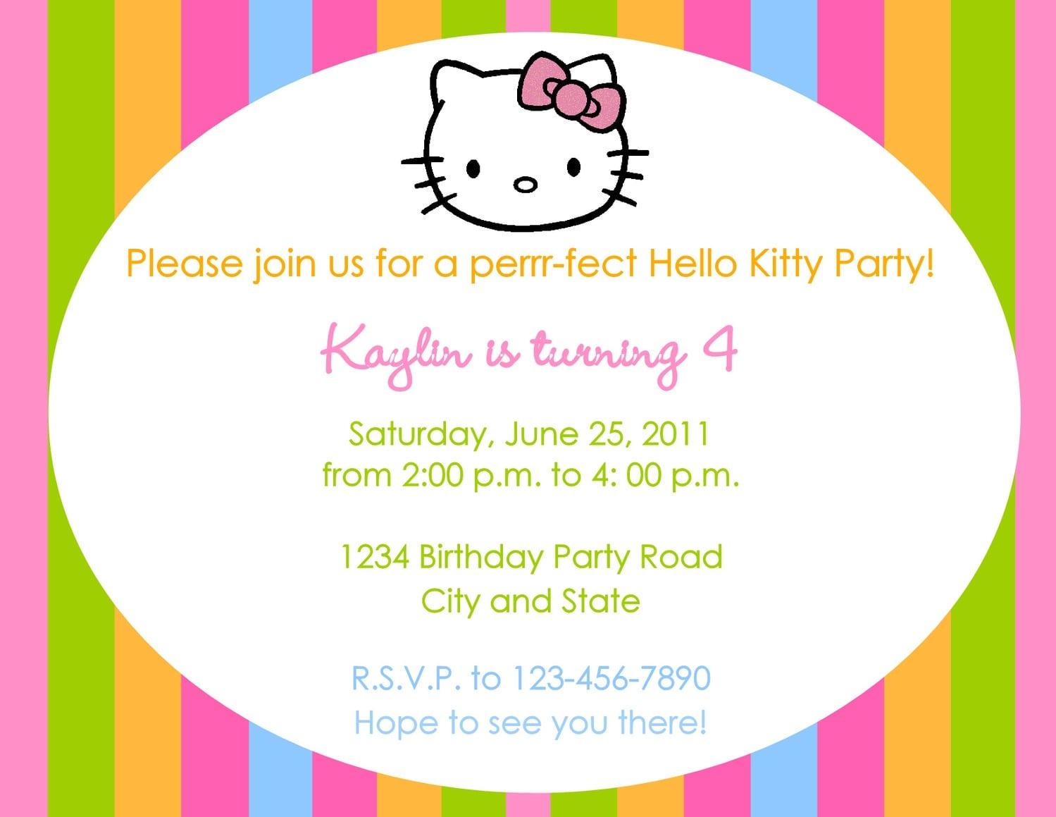 Design Hello Kitty Birthday Invitations