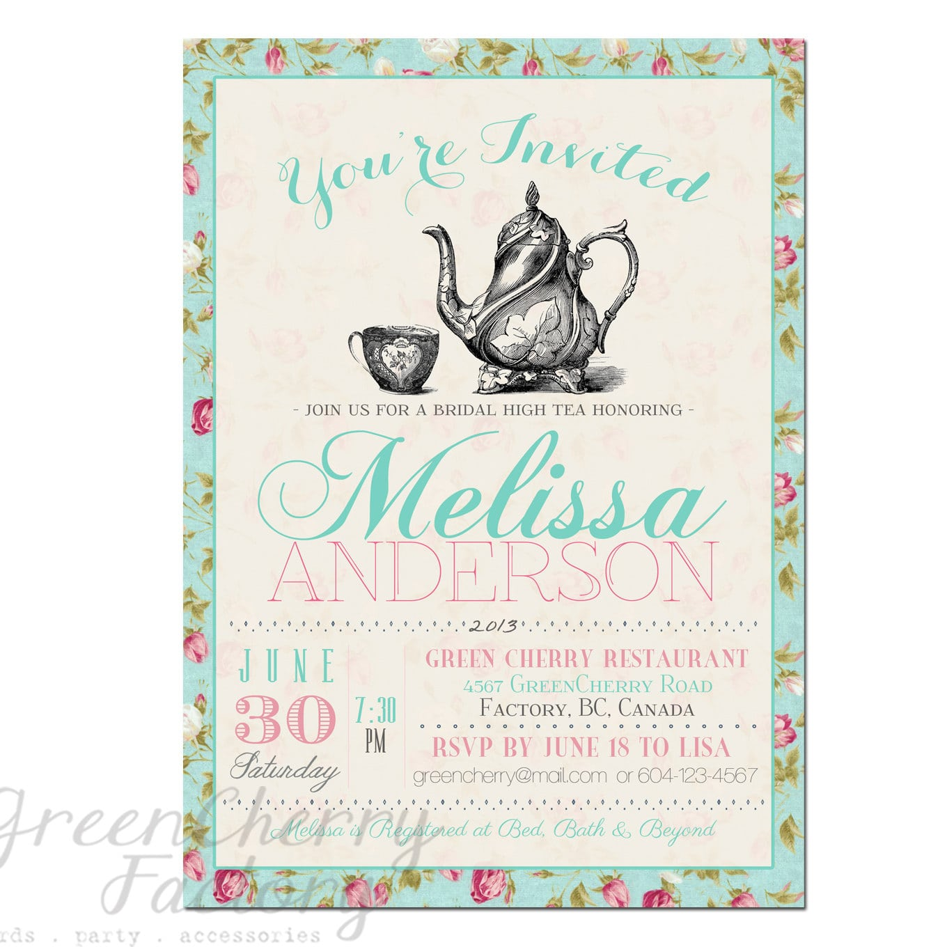 Designs   Tea Party Baby Shower Invitations
