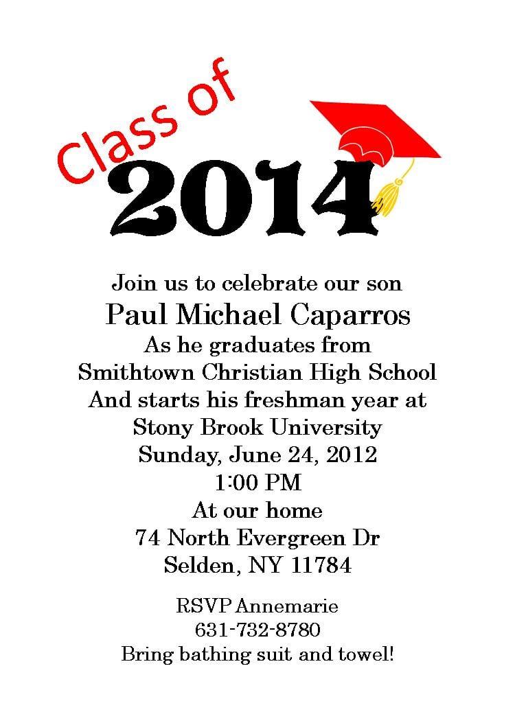 Designs Graduation Party Invitation Wording Template Graduation