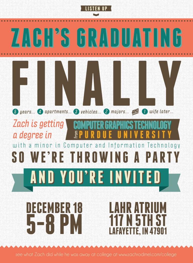 Designs Nice Looking College Graduation Party Invitation Wording