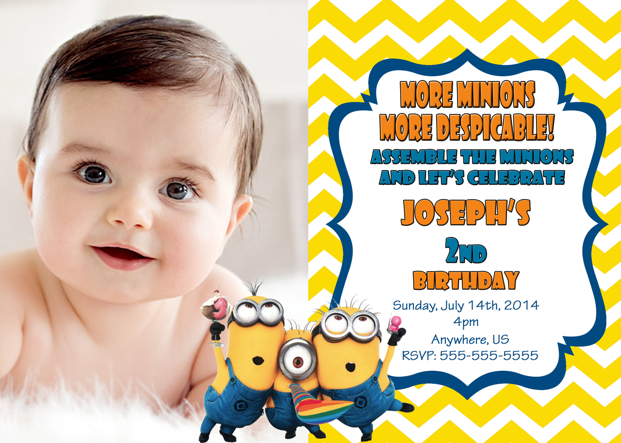 Despicable Me Birthday Party Raffle Ticket Digital Invitations And