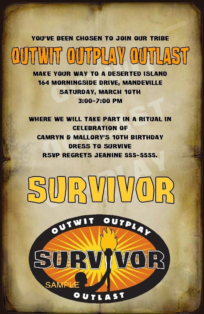 Details About Custom Survivor Party Invitations