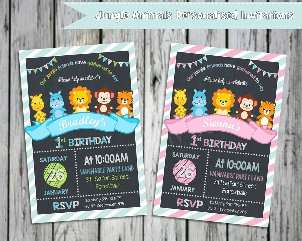 Details About First Birthday Invitations Jungle Animals Safari