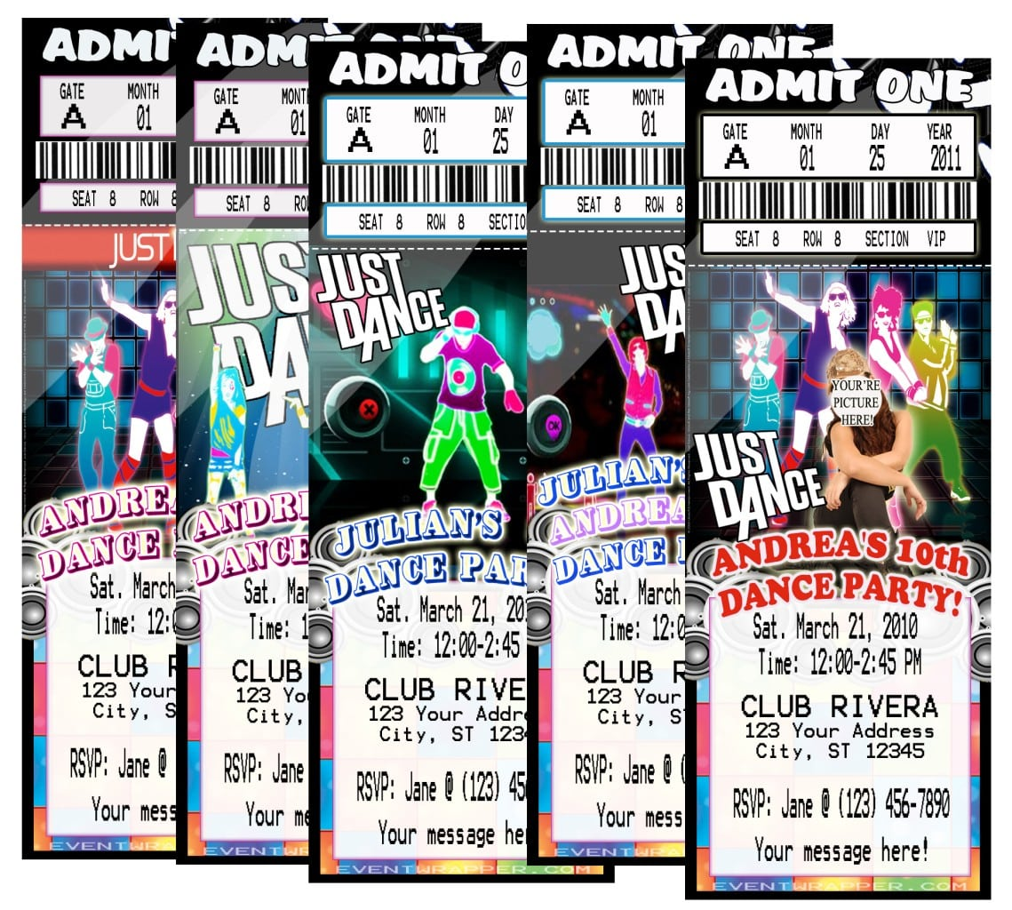 Details About Just Dance Hip Hop Birthday Party Ticket Invitations
