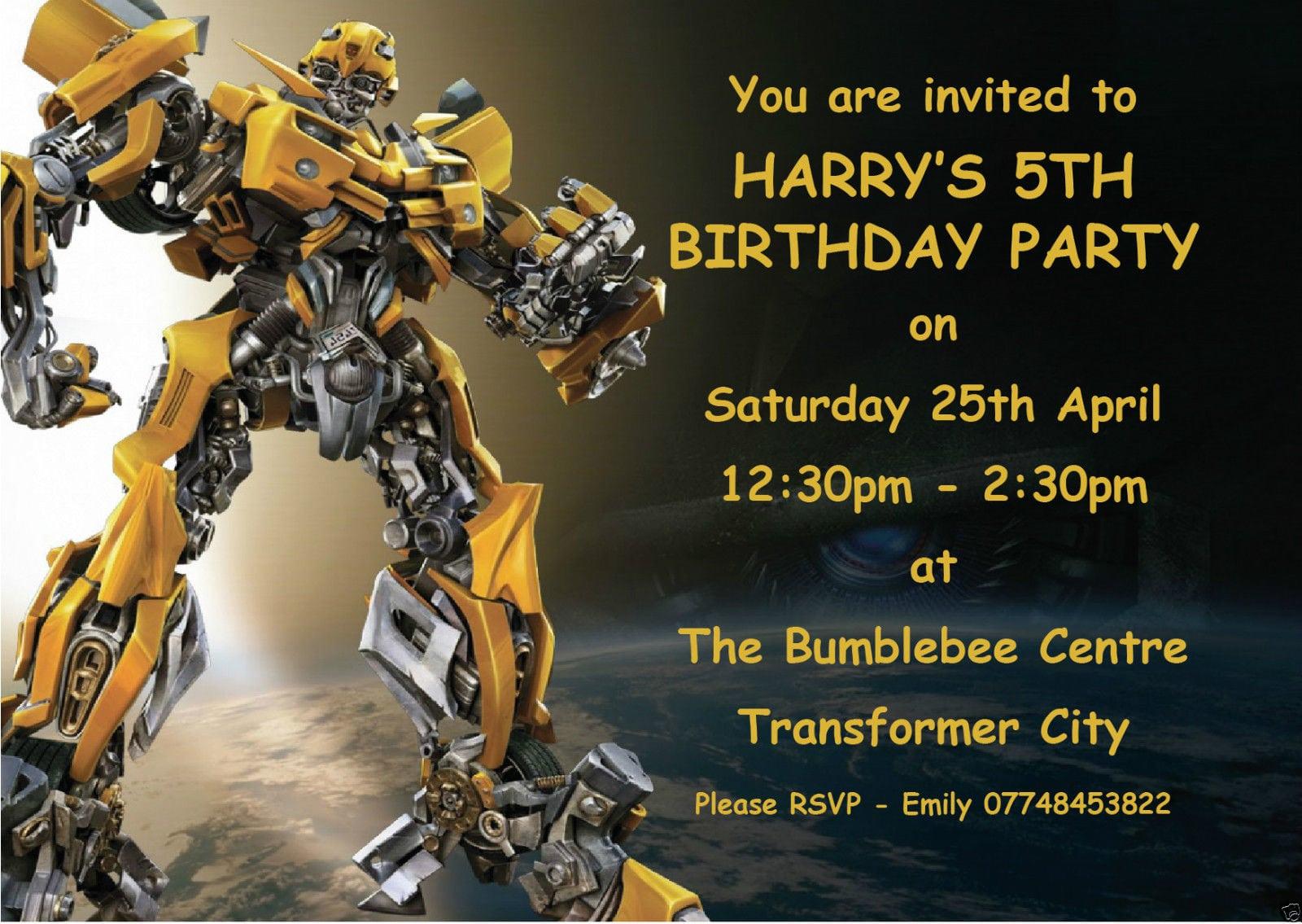 Detalles De 10 Personalizado Transformers Bumblebee Niños Fiesta