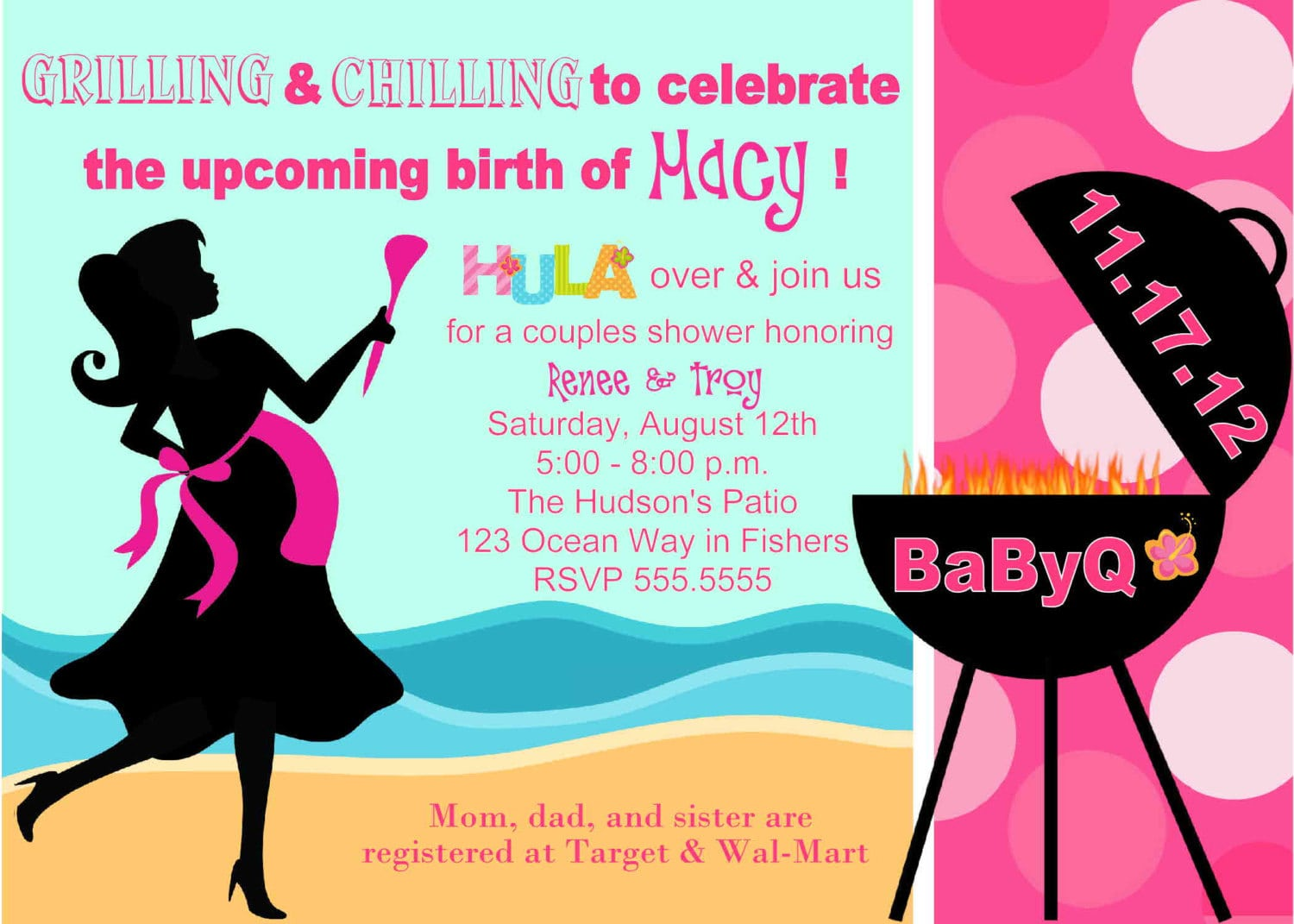 Digital Babyq Bbq Pink Hula Girl Barbecue By Spencervillejunction