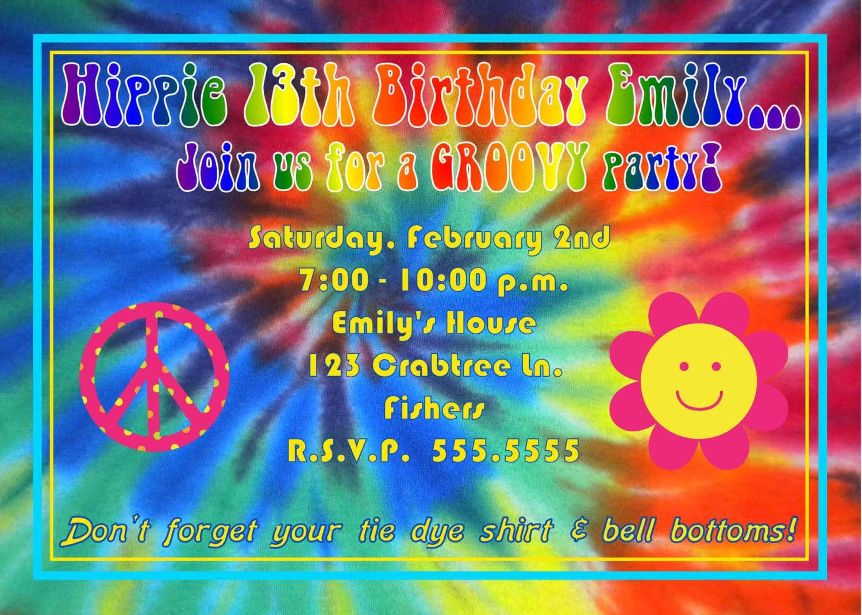 Digital Tie Dye Hippie Birthday Party Photo Invitation 2 Thank