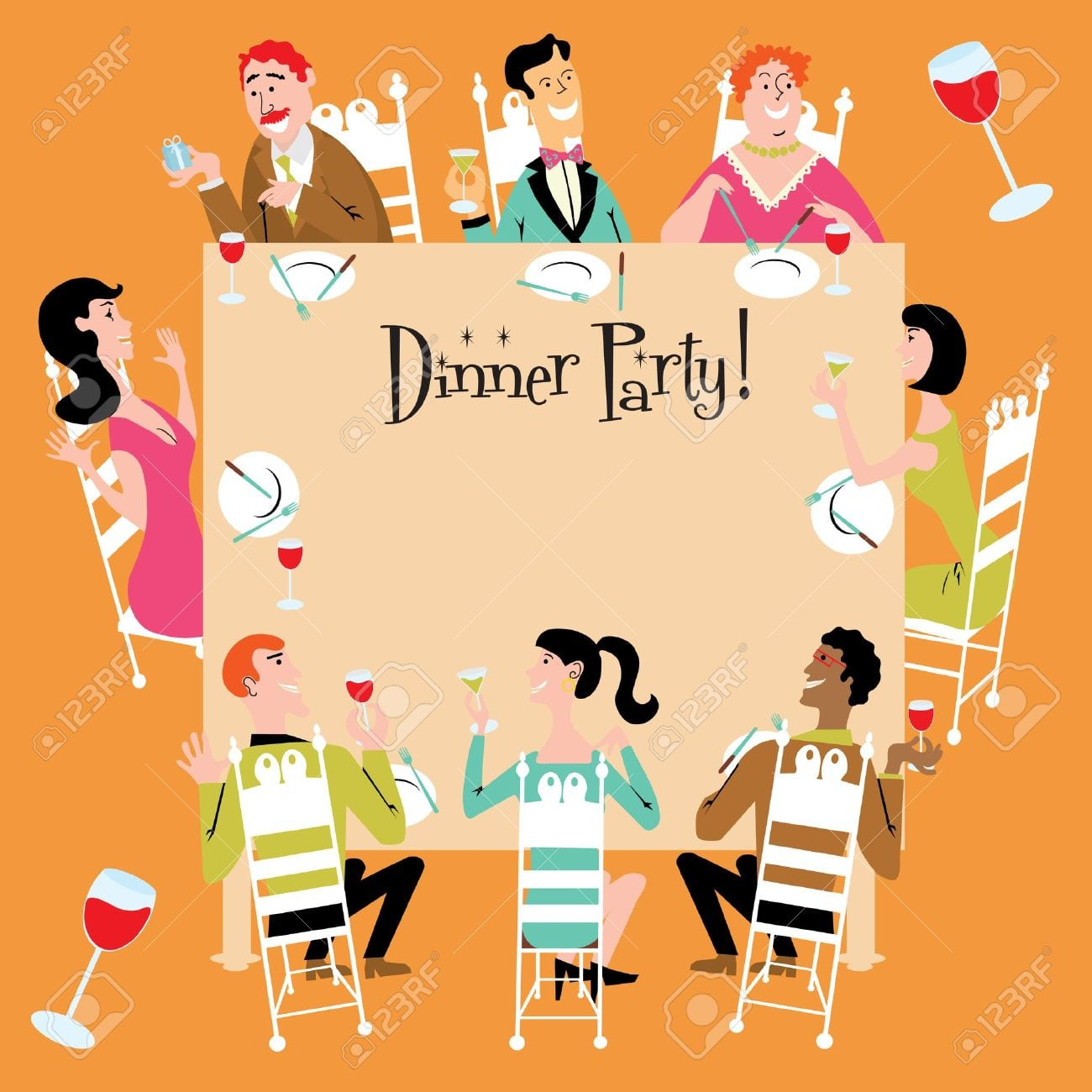 Dinner Party Invitation Royalty Free Cliparts, Vectors, And Stock