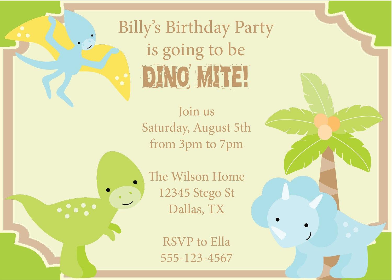 Dinosaur Birthday Invitations Templates