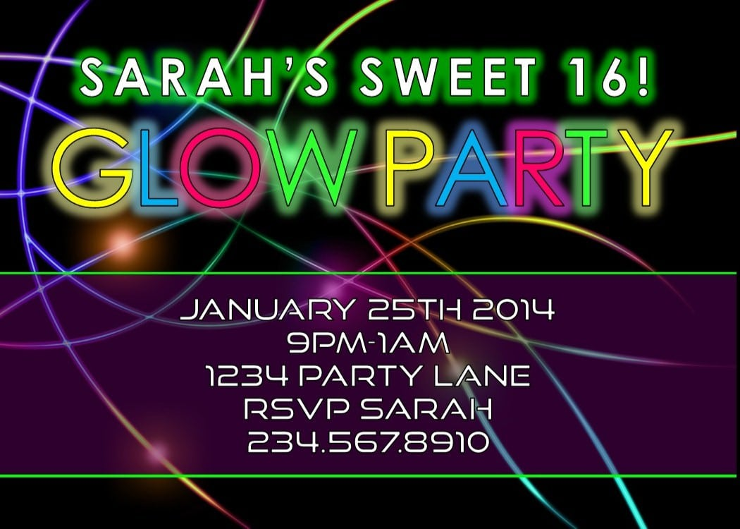 Glow Party Invitation Wording Mickey Mouse Invitations Templates