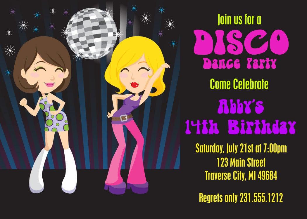 disco birthday party invitations free