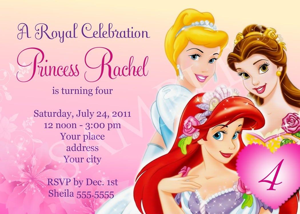 Disney Princess Birthday Party Invitation Templates