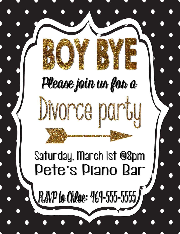 Divorce Party Invitation Divorce Black And Gold Gold Glitter Polka