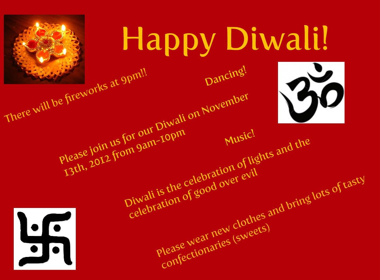 Diwali Celebration Invitation Card With Diwali Greeting Text And