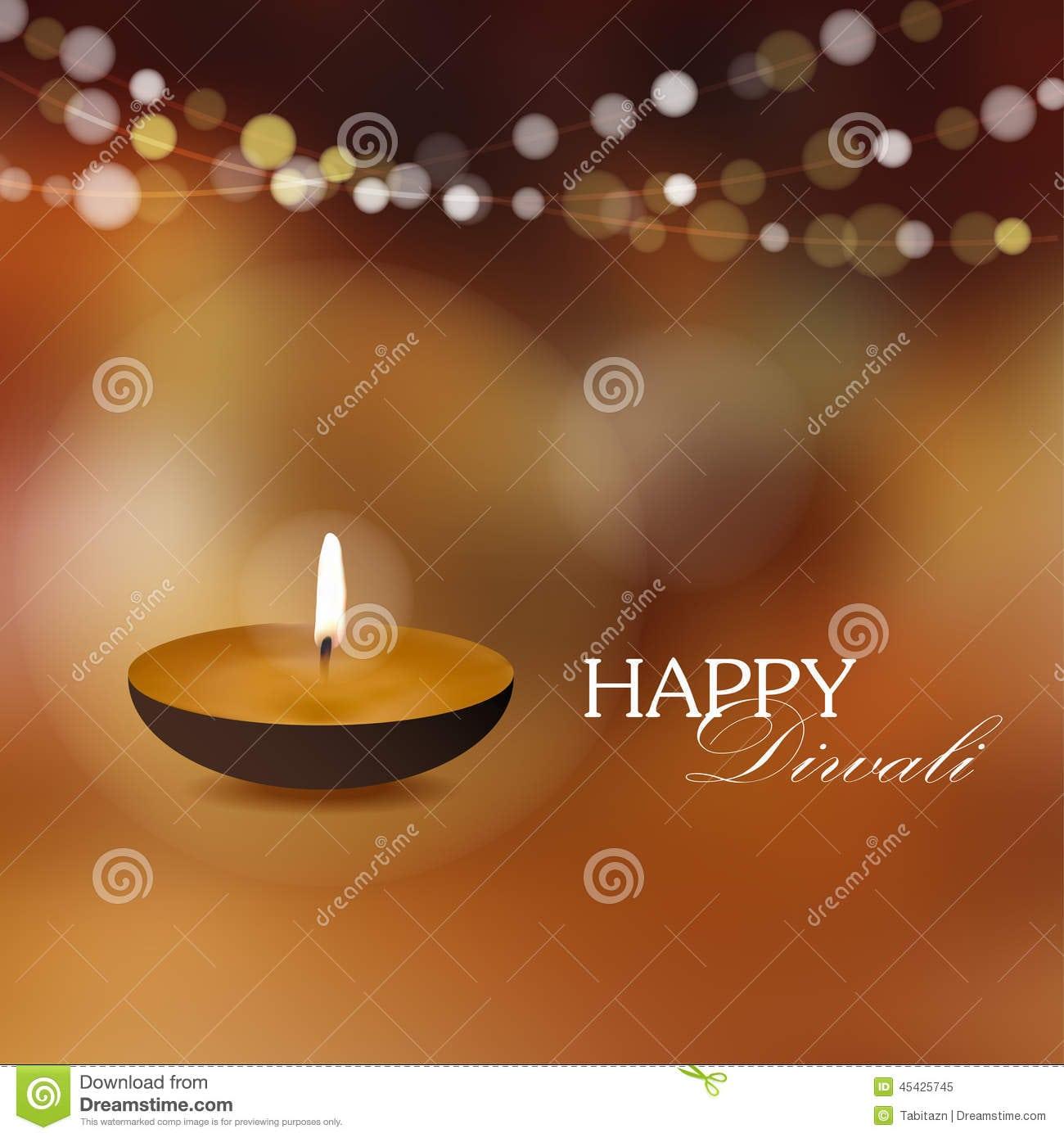 Diwali Greeting Card Invitation With Diya Oil Lamp, Stock Vector