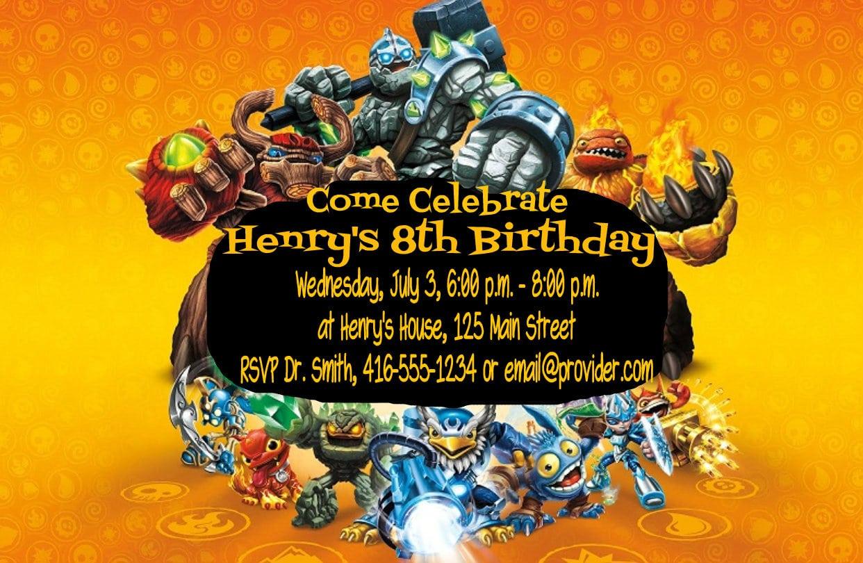 Diy Skylanders Giants Birthday Party Invitations