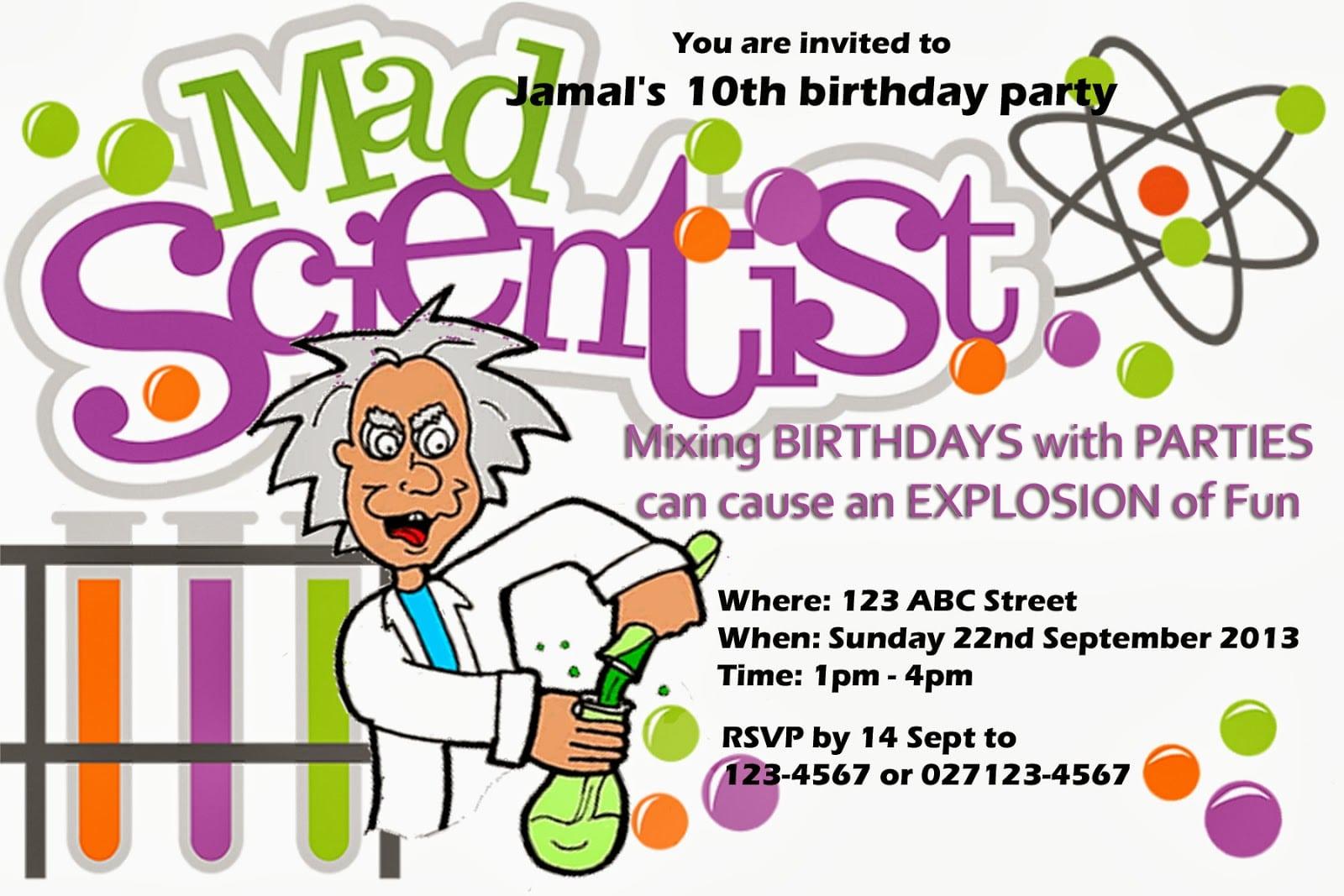 Doc    Mad Scientist Birthday Invitations – Party Invitations (+70
