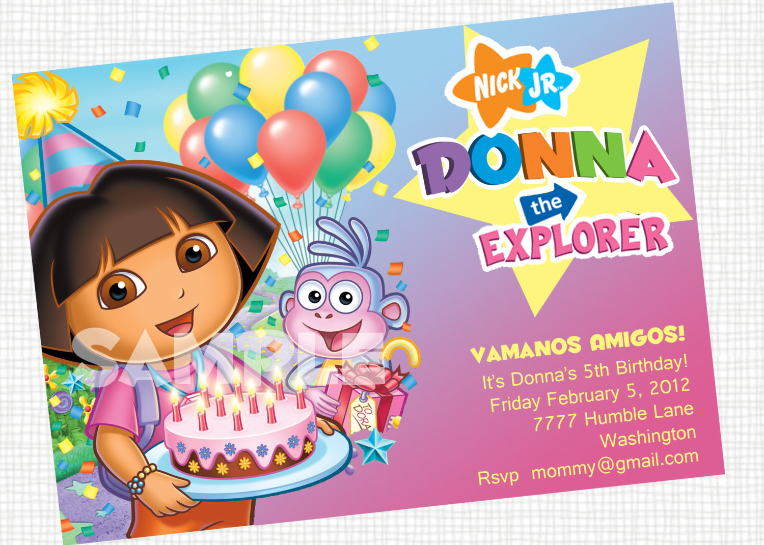 Dora Party Invitations