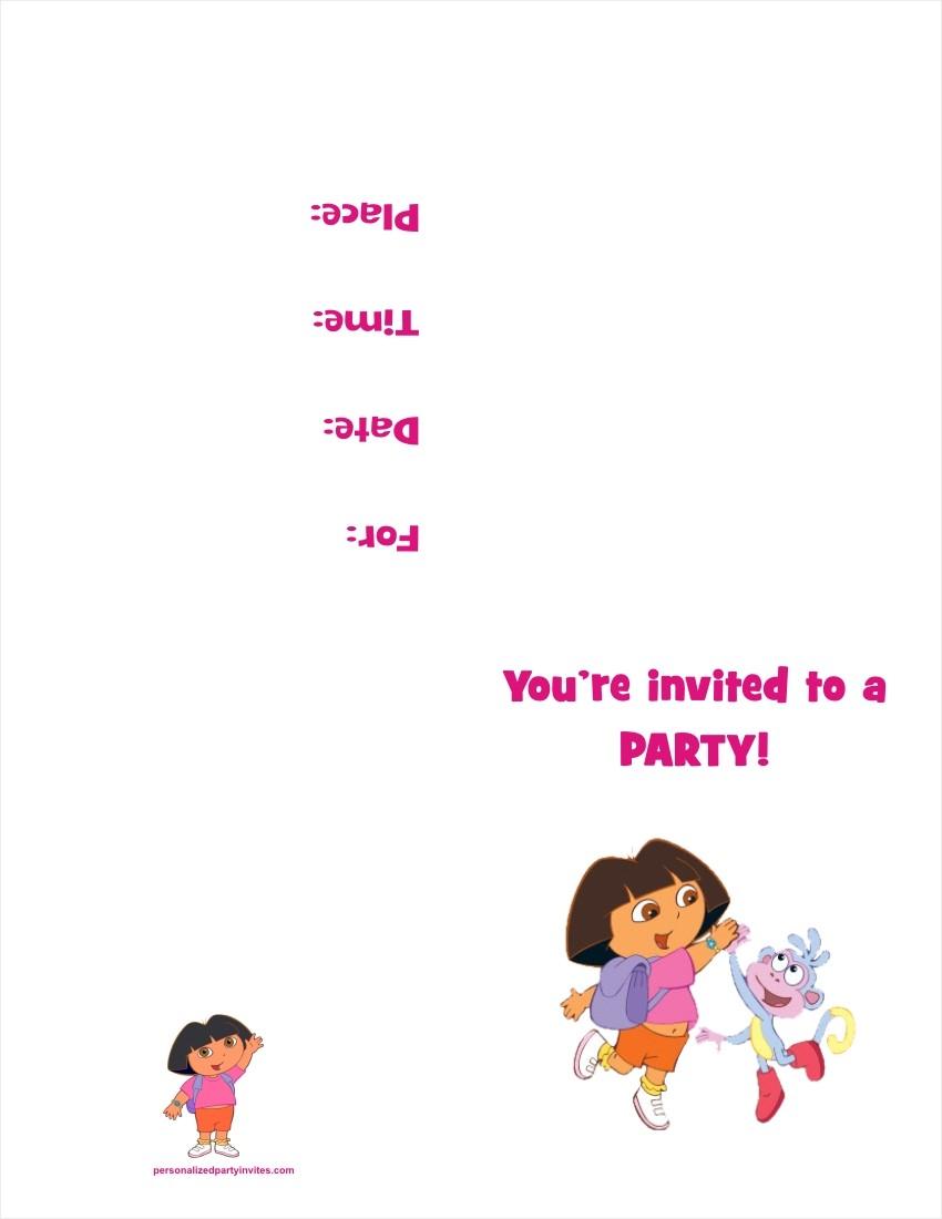 Dora Party Invitations Mickey Mouse Invitations Templates – Dora Party Invites