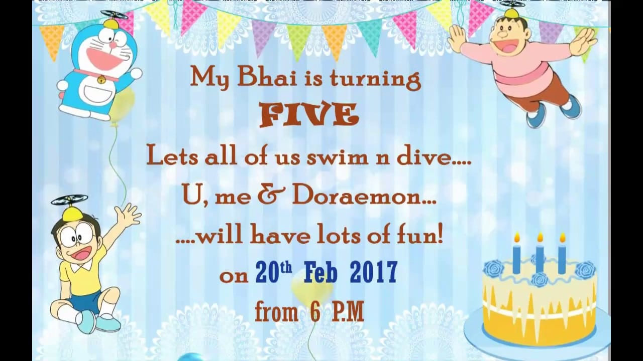 Doraemon Theme Whats App Invitation For Twins Birthday Party