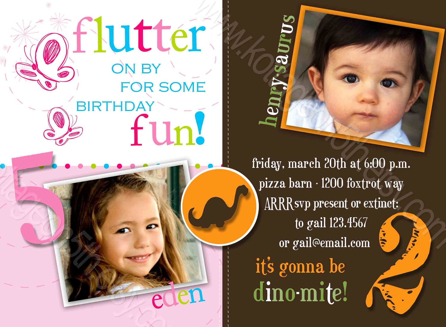 Double Birthday Party Invitations Nice Double Birthday Party